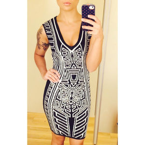 NWOT XS/S bodycon pattern dress black and white